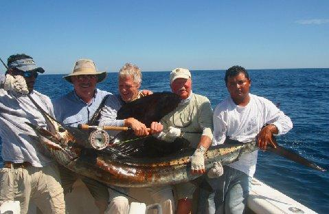 George, Greg, Ken, with mates, aboard Intensity, Jake Jordan's Sailfish School, Casa Vieja Lodge, Guatemala, Intensity, Captain Mine Sheeder, January 16, 2011