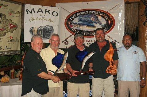 Second Place Team, Most Sailfish, Intensity, (L to R) Jake Jordan, Lucien Lafond, Tony Weaver, Chris Sheeder (accepting for Captain Mike Sheeder), Antonio Valdez