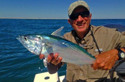 Fred David first Albie on Fly Cape lookout NC aboard vessel Fly Reel with Captain Jake Jordan