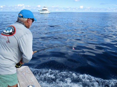 Cary Caputi catching his second Blue Marlin on fly