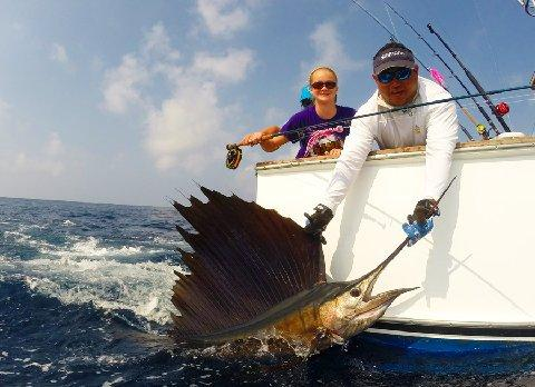 13 year old Isabel Weatherley catching her first Sailfish on Fly March 10 2014 Makaira with Captain Jason Brice The Sailfish School