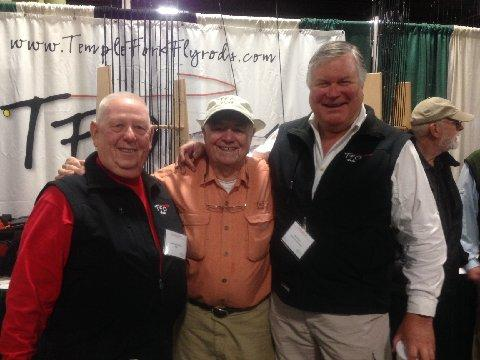 Rick Pope, Lefty Kreh. Jake Jordan, TFO Booth, Somerset NJ Fly Fishing Show, January 2014