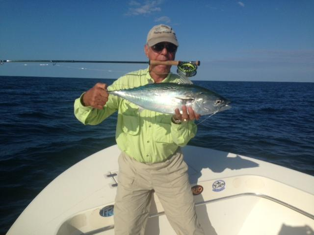 "Albert Bruno angler,  ""Vessel Fly Reel"" Albie on Fly, Cape Lookout Region of NC, Captain Jake Jordan Photo, September 20, 2013"