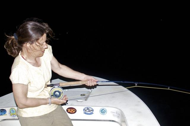 Sarah Gardner fighting big Keys Tarpon on fly