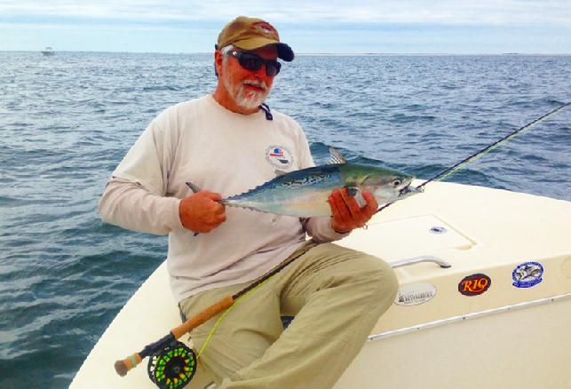 Paul Warren Albie on fly October 21 2013 Captain Jake Jordan Photo