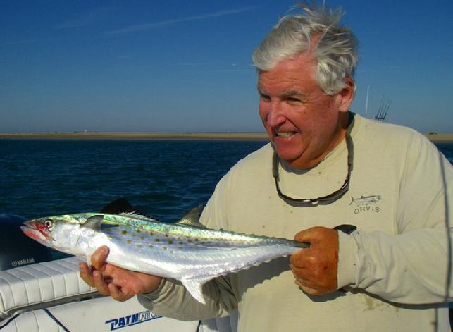 "Spanish Mackerel on fly, August 2010, aboard ""Fly Reel"", Harkers Island,Cape Lookout, North Carolina"