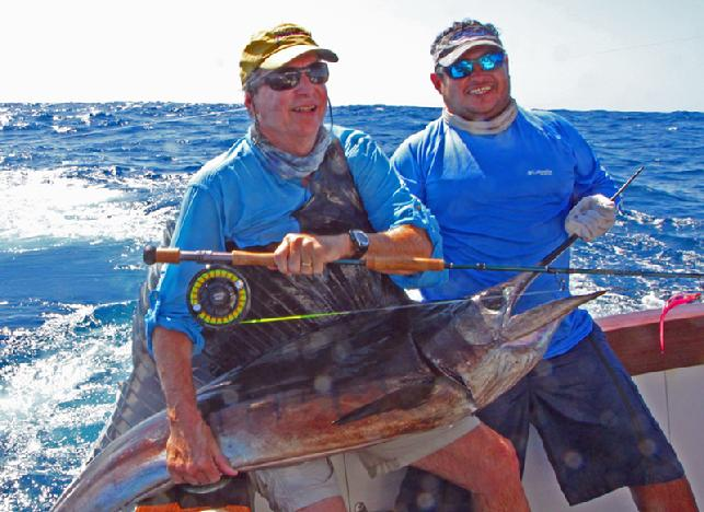 Dave Miller First Sailfish on fly aboard Makaira with Captain Jason Brice at The Sailfish School, with Jake Jordan