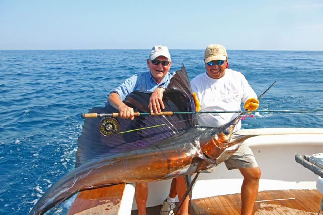 Paul Engler, Trophy Sailfish on fly, JAke Jordan's Sailfish School, vessel Rumline with CAptain Chris Sheeder and mates Nico and Saunder, December 11, 2012, Casa Vieja Lodge, Guatemala