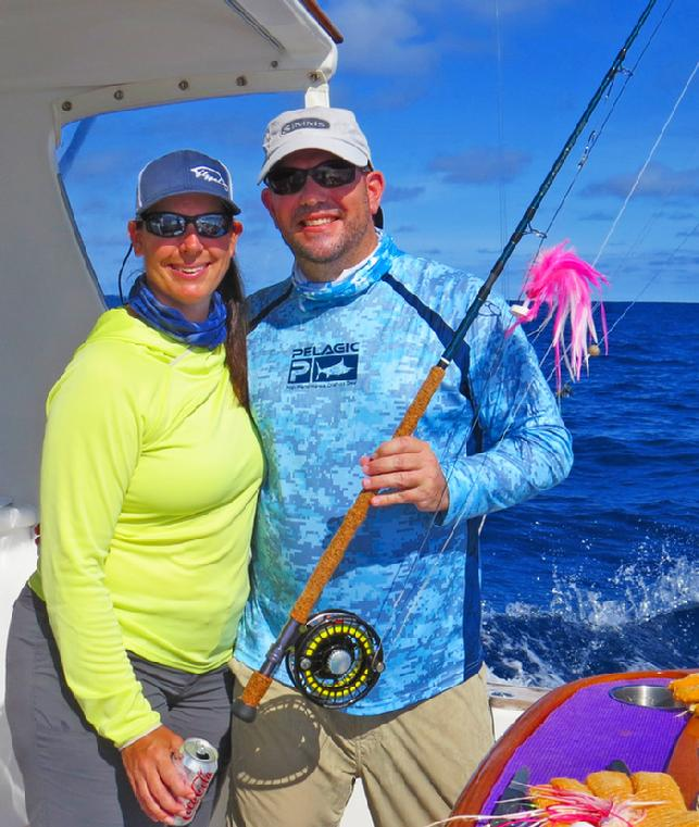 Diane and Chris O'Neill aboard Dragin Fly,CR Blue Marlin Fly Fishing School 2016