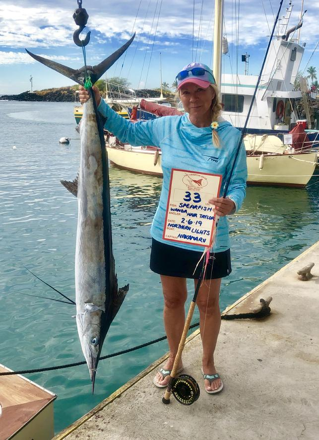 "Wanda Hair Taylor with 33 pound Spearfish, caught aboard ""Northern Lights"" out of Kona Hawaii, 20 pound class tippet for 33 pound fish, Ladies World Record"