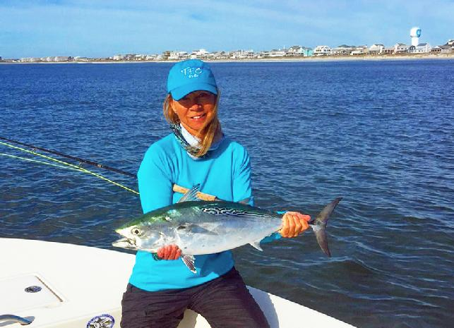 "Wanda Hair Taylor, Albie on Fly, December, 2015, aboard vessel ""Fly Reel"""