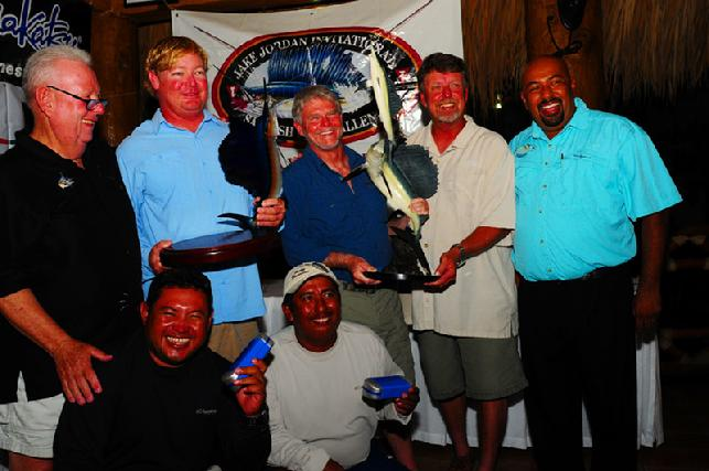 Second Place Team, Captain Jason Brice, Anglers Paul McGarvie (Center, and Jacl Callion holding trophy